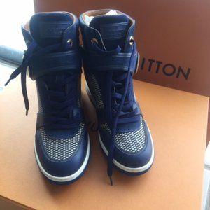 LOUIS VUITTON Wedge High-Top Blue Sneaker 7 US